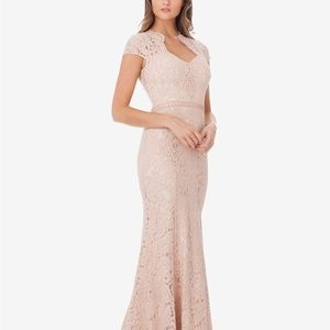JS Collections Sweetheart Lace Mermaid Gown Blush